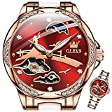 OLEVS Women Watches Automatic Mechanical Watch Skeleton Red Dial Luxury Watches Ceramic Rose Gold Stainless Steel watch Self-Winding Waterproof Luminous Watches Gift for Her Fashion Ladies Wrist Watch