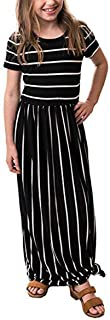 Áo quần dành cho bé gái – Girls Short Sleeve Striped Party Dress Summer Casual Long Maxi Dress with Pocket (4-13Years)