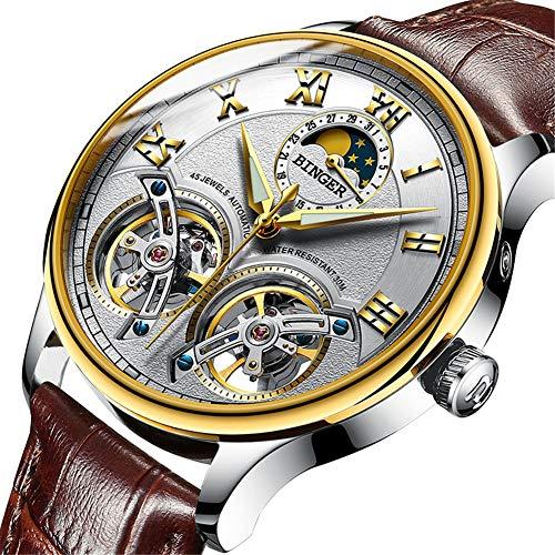 BINGER Relojes Suiza Doble Tourbillon,Reloj automático para Hombres Original, Zafiro, Movimiento de Japón Reloj de Pulsera mecánico de Hombre de Moda de Viento automático 8606,G
