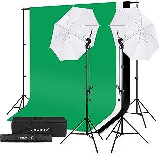 CRAPHY Kit Paraguas de Estudio con 2X Paraguas Suave 84 cm, 2X Trípode de Luz, 3X Fondo Muselina, 1x Sistema de Portafondos, 2X Bombilla 125W 5500K para Retrato