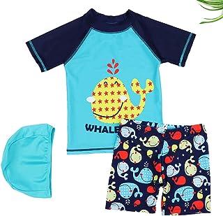 Digirlsor Boys Rashguard Short Sleeve Swimsuit Little Big Kids Swim Trunks with Shirt + Swim Cap, 2-10Y