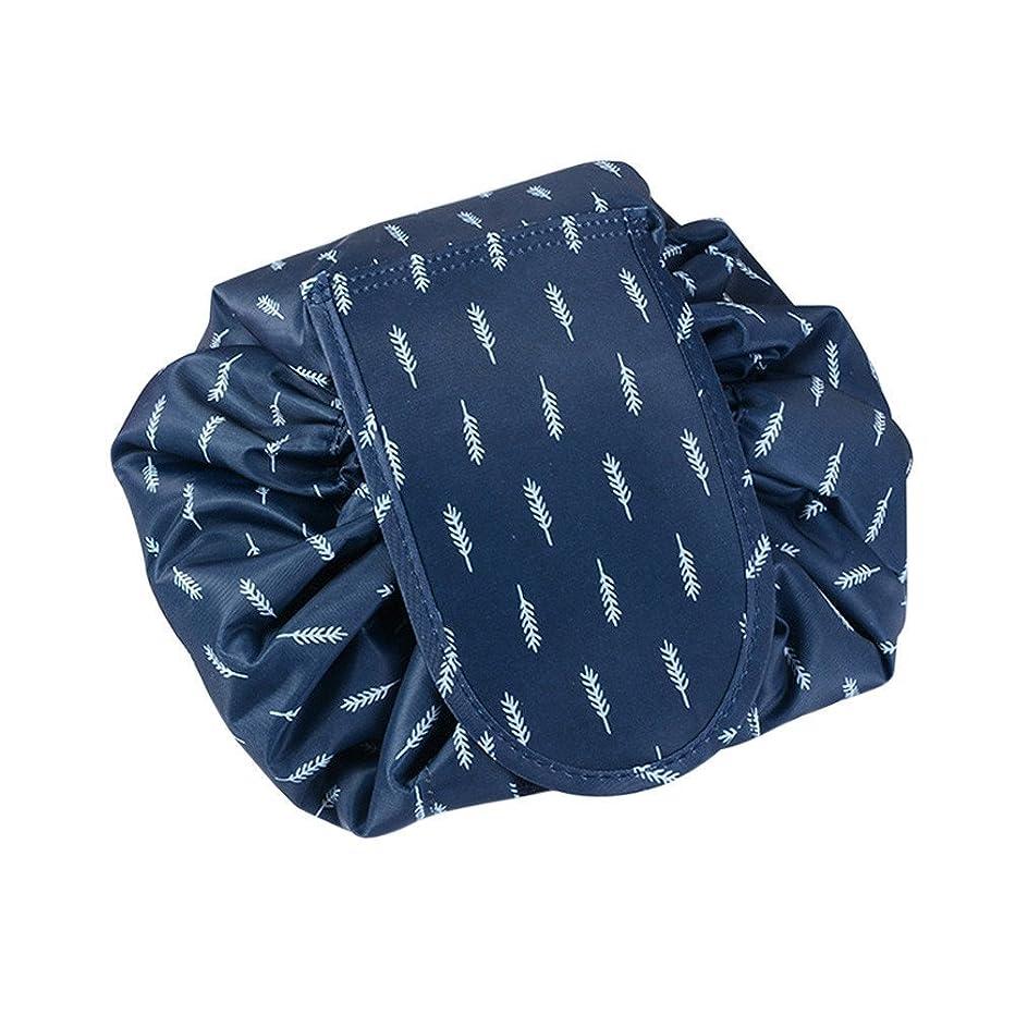 不従順ほぼロック旅行化粧バッグ ファッションお手軽カジュアル巾着旅行防水大容量の化粧バック (ブルー羽毛)