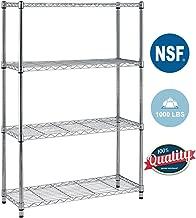 BestOffice 4 Shelf Wire Shelving Unit Garage NSF Wire Shelf Metal Large Storage Shelves Heavy Duty Height Adjustable Utility Commercial Organizer for 1000 LBS