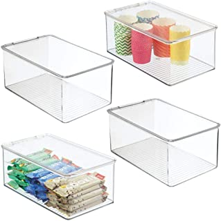 mDesign Zestaw 4 organizerów kuchennych – pojemniki na zapasy do regałów kuchennych i spiżarni – pudełko na lodówkę z twor...