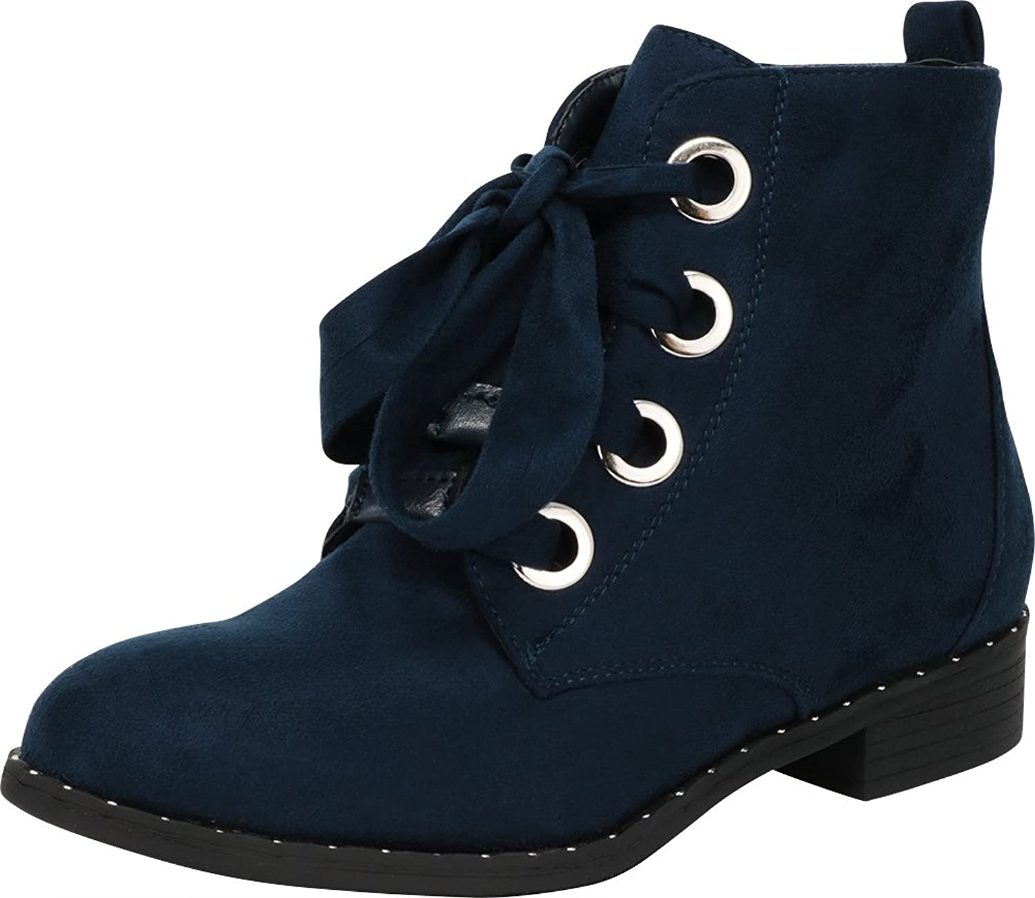 Cambridge Select Women's Round Toe Large Eyelet Lace-up Low Stacked Heel Ankle Bootie
