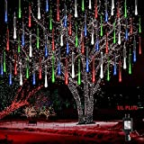 Kwaiffeo Meteor Shower Lights Falling Rain Lights, Christmas Lights Outdoor 12 inch 8 Tube Snow Falling Icicle Cascading Lights for Xmas Tree Decor Wedding Party, UL Plug Multi Colored