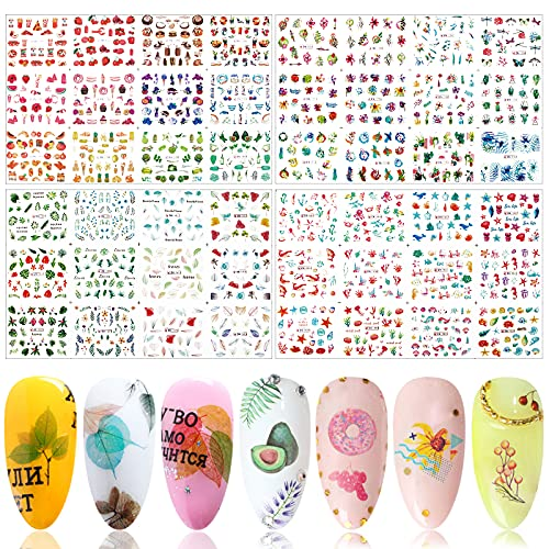 FLOFIA 48 Estilos Pegatinas Uñas Decorativas al Agua, Calcomanías Uñas Agua Flores pluma planta, Nail Art Stickers para Mujer Niñas Manicura DIY