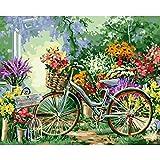 Giyiohok - Pintura para números de adulto – Abstracto Nature paisaje flor bicicleta – Bricolaje digital para niños adultos – Pintar por números, kit Home Decor 40 x 50 cm (sin marco)