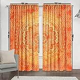 Sophia Art Indian Orange Tye Dye Ombre Mandala Hippie Cortinas Bohemia Psicodélico Cortina de ventana india drapeado hecho a mano