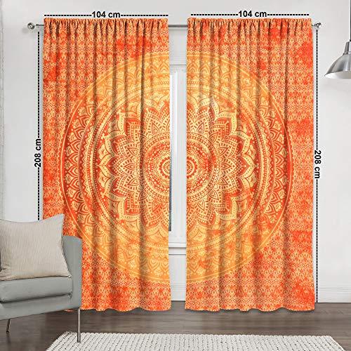 Sophia Art Indische Orange Tie Dye Ombre Mandala Hippie Vorhänge Bohemian Psychedelic Fenstervorhang Indische Drape handgefertigt Vorhang Panel