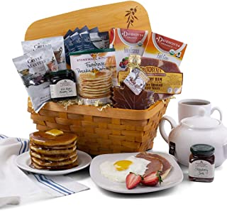 2019 Christmas Breakfast Holiday Gift Basket of Coffee, Tea, Jam, Syrup, Ham, and Pancake Mix