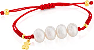 Nudos 925 Silver Vermeil Rope Bracelet with White Chinese Freshwater Cultured Pearl 9.0 mm