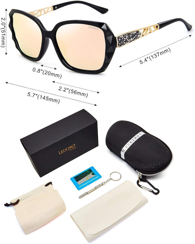 LECKIRUT Lunettes de Soleil Pour Femmes Polarisées Surdimensionnées Classiques 100% UV Protection L7 Cadre Noir / Lentille Rose
