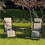 HFRR 2er Set Gartenstuhl Zero Gravity Liegestühle mit Tisch Strandliege Sonnenliege klappbar & liegend Sonnenliege