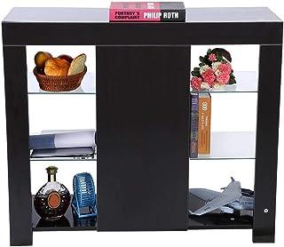 GOTOTOP Gabinete Moderno Aparador de Exhibición con Tira de LED y Control Remoto Decoración de Hogar Sala de Estar (Nogal ...