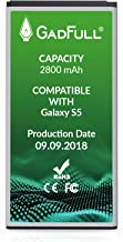 GadFull Battery Compatible with Samsung Galaxy S5 | 2018 Production Date | Corresponds to The Original EB-BG900BBE EB-BG900 | Compatible with Galaxy S5 SM-G900F