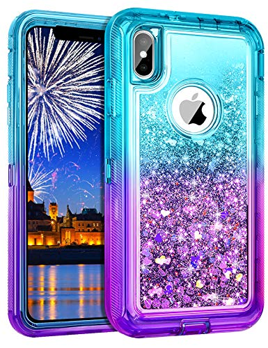 Wollony for iPhone Xs Max Case,360 Full Body Shockproof Liquid Glitter Quicksand Bling Case Heavy Duty Phone Bumper Non-Slip Soft Clear Rubber Protective Cover for Apple iPhone Xs MAX (Lake Purple