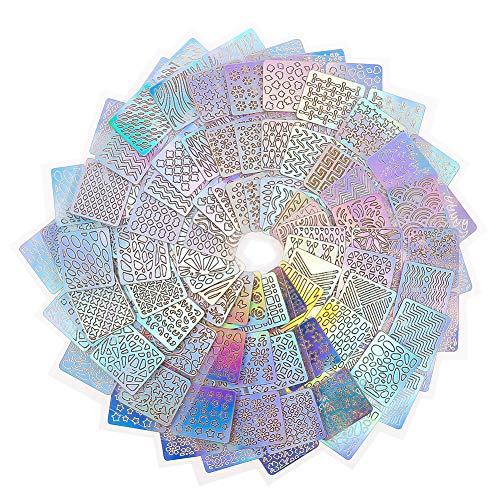 Yumi V Nagelaufkleber Schablonen 144 Stücke Nagel Vinyl Schablonen Nail Art Design Aufkleber Tipps Decals Nagel Kunst Dekoration Aufkleber Set,24 Blatt