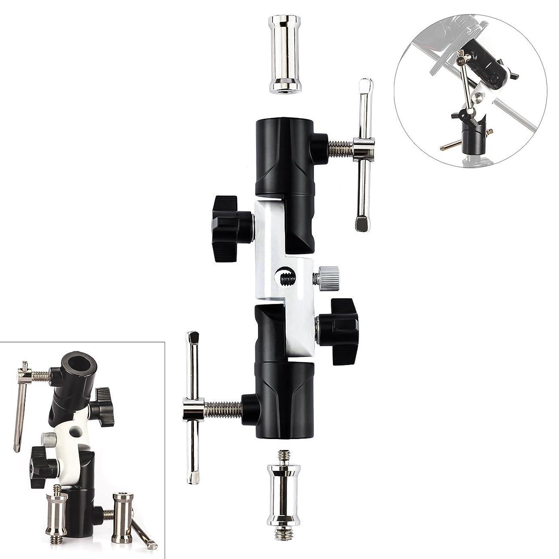 TARION Camera Flash Bracket Mount Adapter U-Shape Swivel Tilt Metal Umbrella Softbox Holder 180° Adjustable 1/4