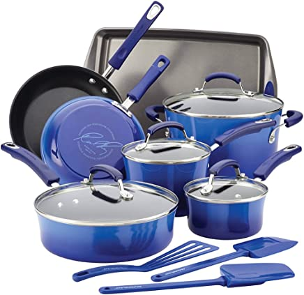 Rachael Ray 17463 14-Piece Aluminum Cookware Set, Blue Gradient