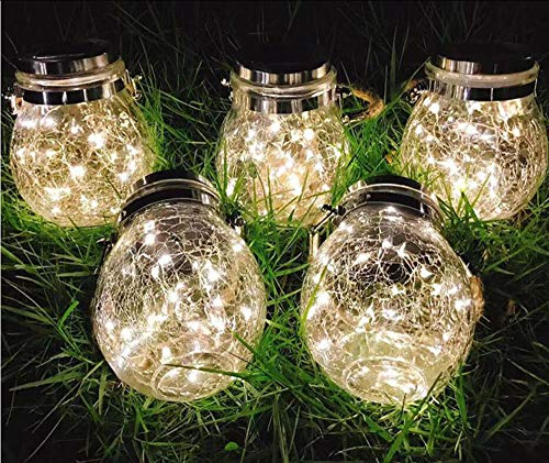 JDD Solar Lantaarn lichtketting Glas Hanglamp Outdoor Solar Lamp Balkon Tafellamp voor buiten, decoratie voor thuis Party tuin bruiloft, Colorfullight