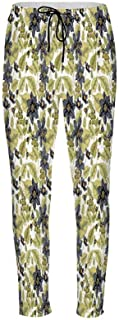 Floral Stylish Drawstring Pants,Victorian Lace Flower Pattern Curved Blooms Lines Vintage Print for Boys & Men,XS