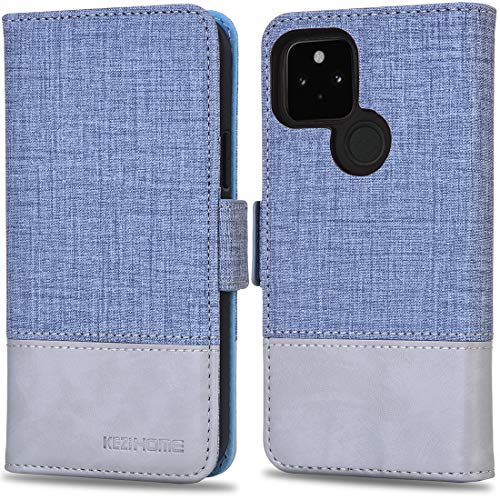 KEZiHOME Google Pixel 5 Hülle, Handyhülle für Pixel 5 [RFID Schützt] [Kartenfächer] [Standfunktion] [Magnet] PU Leder Flip Hülle Cover Stoßfeste Schutzhülle für Google Pixel 5 (Himmelblau/Grau)