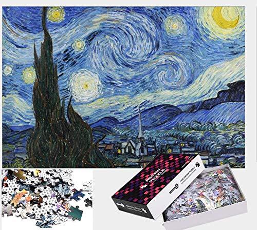 Hizoop 1000 Piezas Grandes Rompecabezas de Noche Estrellada, Rompecabezas de Van Gogh para Adultos, niños, Juguetes para aliviar el estrés, Juego Intelectual (70 x 50 cm)