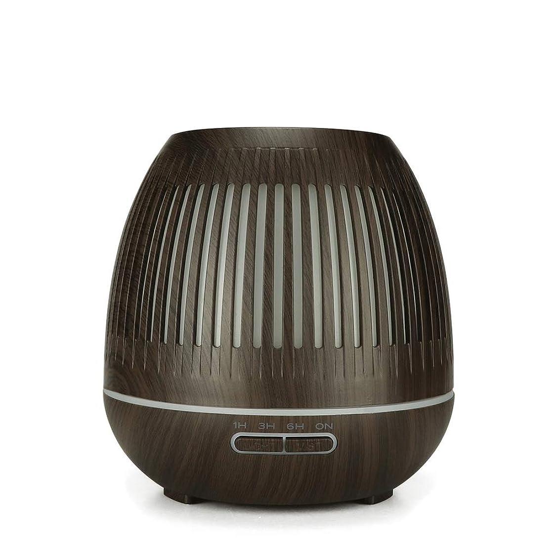 400ミリリットル超音波クールミスト加湿器付きカラーledライト用ホームヨガオフィススパ寝室ベビールーム - ウッドグレインディフューザー (Color : Dark wood grain)