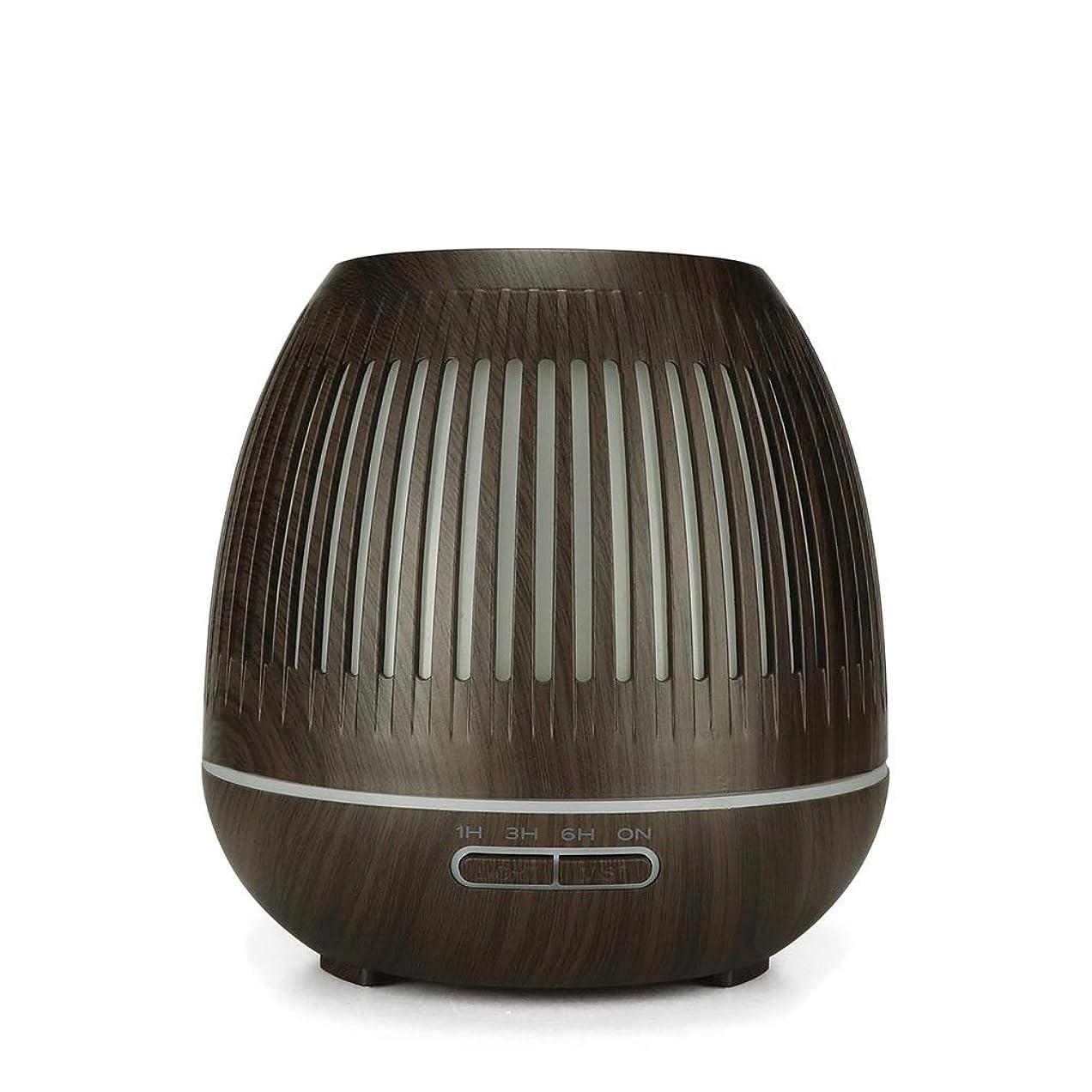 スリム起きる肌400ミリリットル超音波クールミスト加湿器付きカラーledライト用ホームヨガオフィススパ寝室ベビールーム - ウッドグレインディフューザー (Color : Dark wood grain)