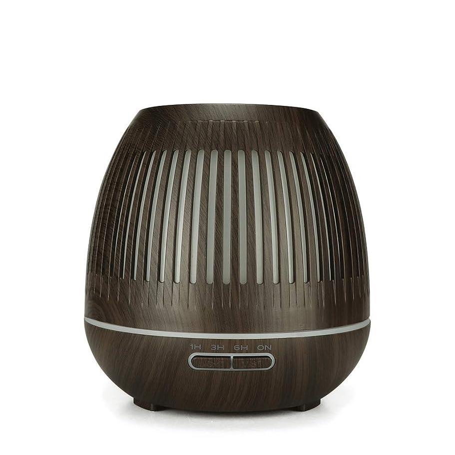 ボストロリープレゼン400ミリリットル超音波クールミスト加湿器付きカラーledライト用ホームヨガオフィススパ寝室ベビールーム - ウッドグレインディフューザー (Color : Dark wood grain)