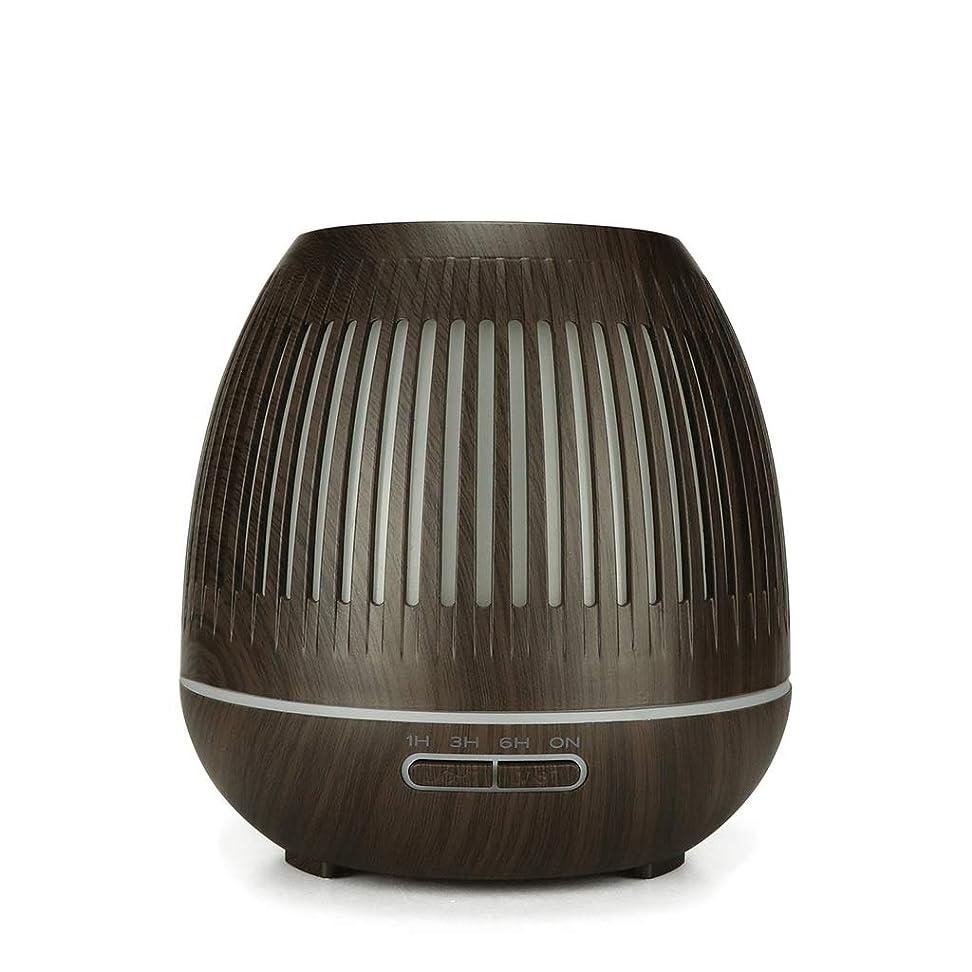 マーキー現実的不純400ミリリットル超音波クールミスト加湿器付きカラーledライト用ホームヨガオフィススパ寝室ベビールーム - ウッドグレインディフューザー (Color : Dark wood grain)