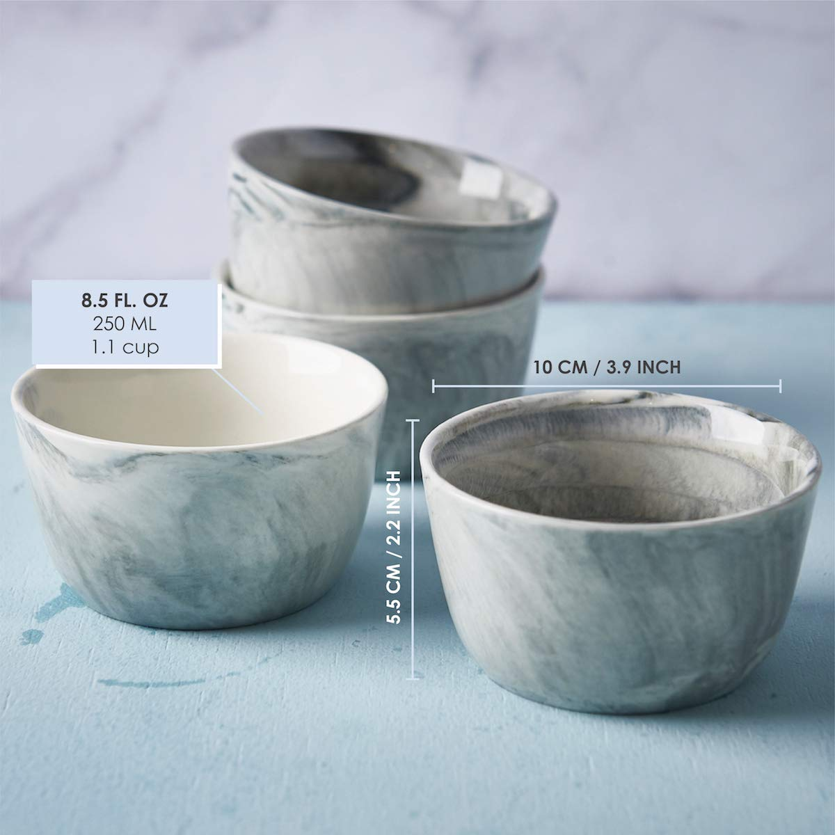 Set of 4 8.5oz Marbled Bowls for Baking Snacks Dips and Condiments Ceramic Ramekins by CIROA