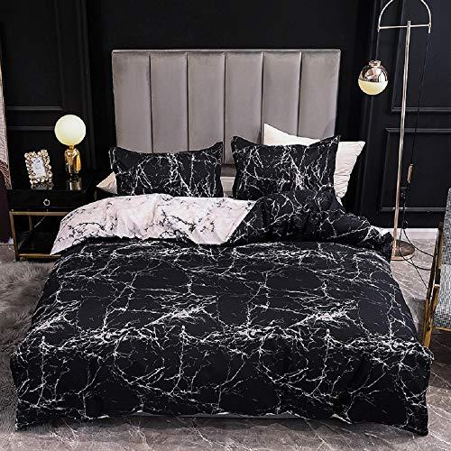 Luofanfei Bettwäsche 135x200 cm Marmoroptik Schwarz Weiß Baumwolle Wendebettwäsche Bettbezug und Kissenbezug 80×80cm mit Reißverschluss (JY, 135 x 200 cm 80 x 80 cm)
