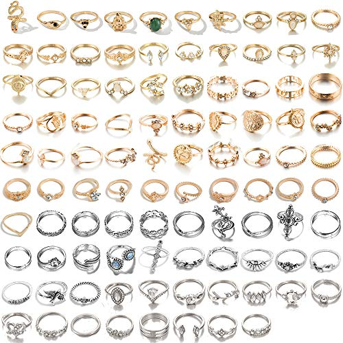 NNIOV Vintage & Fashion Stacking Knuckle Rings Set, Retro Crystal Midi Rings, Joint Nail Cuff Toe Finger Rings, Gold Silver Copper Antique Silver Bronze Plain Comfort Fit Size 3 to 9 (F-98PCS)