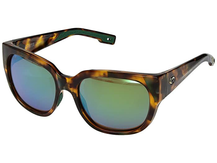Costa  Waterwoman (Green Mirror 580G/Shiny Palm Tortoise Frame) Fashion Sunglasses