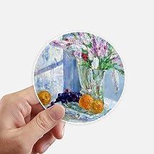 DIYthinker Still Life Painting Vase Flower Grape Round Stickers 10Cm Wall Suitcase Laptop Motobike Decal 8Pcs Diameter 10C...