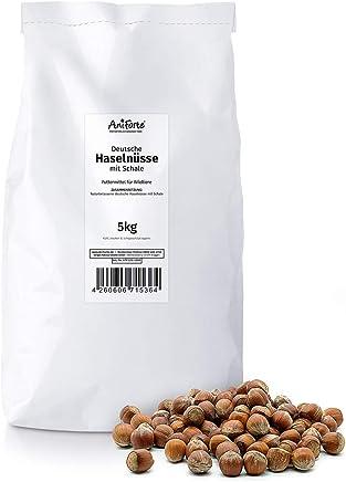 AniForte deutsche Haselnüsse 5kg - Ganze Nüsse in Schale aus Deutschland, Tierfutter, Futter für Tiere, Kleintiere, Eichhörnchen, Streifenhörnchen, Nagetiere, Rein natürlich, Lebensmittelqualität