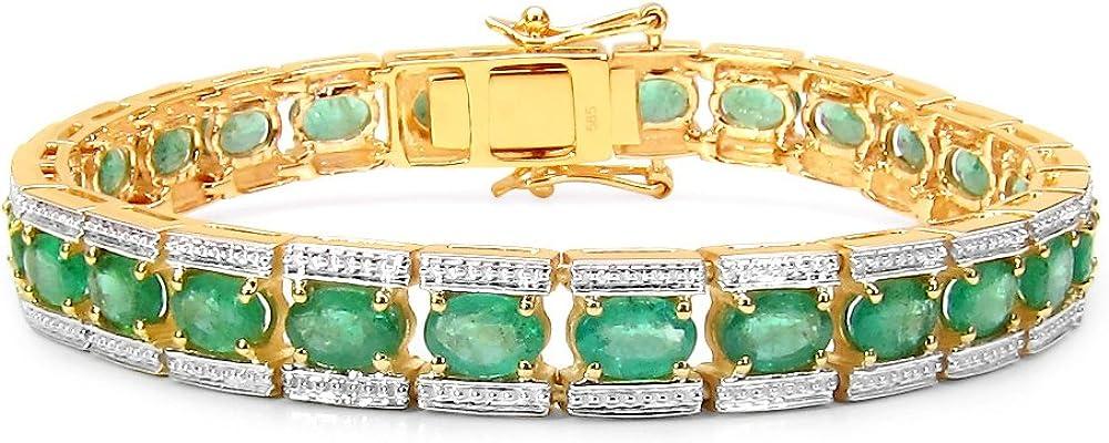 Tricolour  bracciale per donna in oro giallo 14ct/585 (29,25gr),e vere pietre preziose smeraldi 11,7ct B1221ZE_14KYG