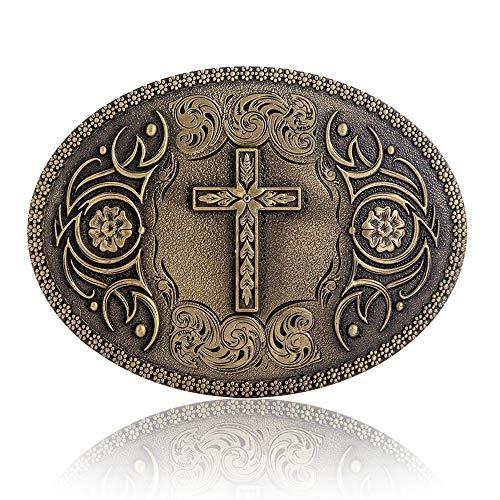 Vintage Celtic Knot Belt Buckle for Men Simple Cowboy Belt Buckle (10-Bronze Cross)