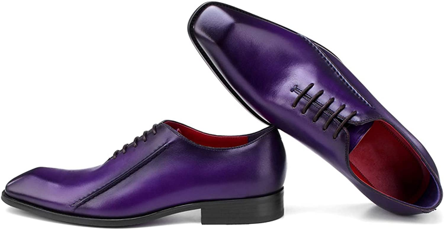 BONGZUO Men Oxford shoes, New Winter Men Leather Business England Dresses Trend Square Head Purple Handmade shoes, YMCWP1023-1