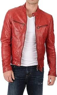 Leather Scan Men's Lambskin Leather Bomber Biker Jacket