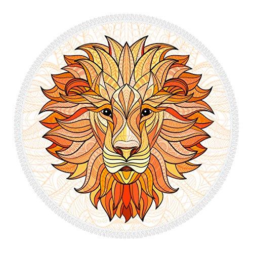 Telo mare rotondo 100% Microfibra con frange , diametro 156 cm, Made in ITALY, Ecofriendly, Telo Grande multi-funzionale: spiaggia, coperta, tovaglia, telo per picnic. Motivo: tatuaggio leone.