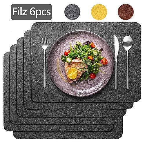 Aujelly Filz Platzset 6er Set, 45x30cm Platzdeckchen abwaschbar rutschfest Tischset für Esstisch Küchentisch- Grau Filzmatte