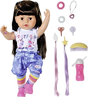 Baby Born 830352 Big Sister Doll 43cm-6 Lifelike Functions, Brunette Hair-Easy for Small Hands, Creative Play Promotes Emp...