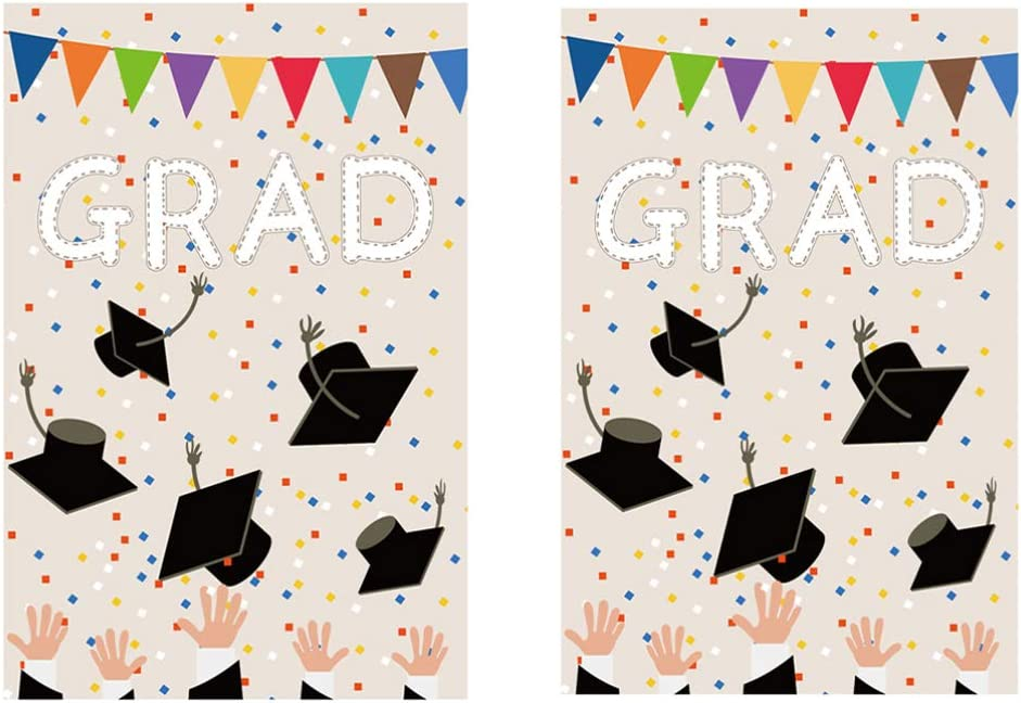 PRETYZOOM It is very popular 2Pcs Polyester Graduation OFFicial mail order Season Yard Dec Garden Party