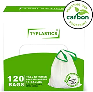 TYPLASTICS 13 Gallon Drawstring Trash Bags - Tall Kitchen Trash Bag - Large White Garbage Bag - Perfect for Household Indoor and Outdoor Use (White, Standard Thickness)