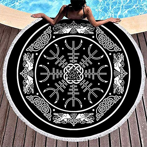 Nazi Mie Valknut Yelmo de asombro Tótem con Nudo de dragón Escudo Vikingo nórdico Mitología Toalla de Playa Redonda Playa Divertida