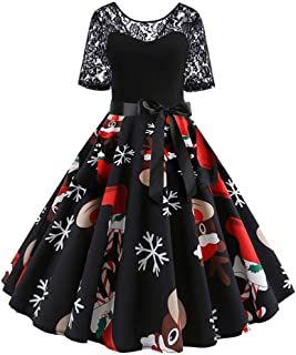 Womens Cocktail Dresses Long Sleeve Christmas Print Vintage Flare Lace Party Dress