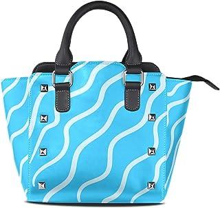 FANTAZIO Coach Handtasche White Bight Azurblau Hintergrund für Party/Einkaufen